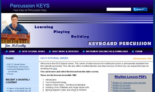 video lessons for tuned percussion and mallet percussion and percussion keyboards